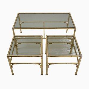 Table Basse et Tables d'Appoint Dorées de Chelsom UK Designs, Angleterre, 1980s