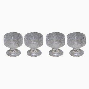 Juego de vasos de vidrio de Timo Sarpaneva para Iittala, años 60. Juego de 4
