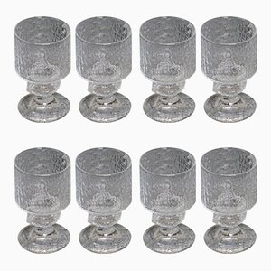 Juego de vasos de vidrio de Timo Sarpaneva para Iittala, años 60. Juego de 8