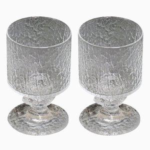 Juego de vasos de vidrio de Timo Sarpaneva para Iittala, años 60. Juego de 2