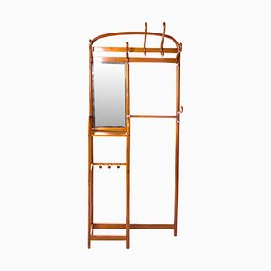 Antique Bentwood Coat Rack with Mirror by Michael Thonet for Thonet