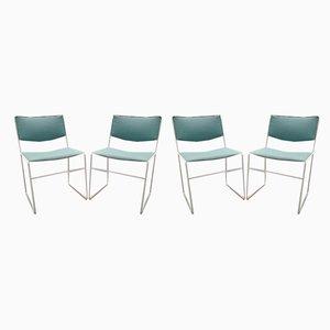 Sillas de comedor minimalistas en blanco y verde menta, años 60. Juego de 4