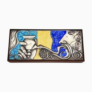 Rosewood Sterling Silver & Enamel Box by Ottaviani, 1960s