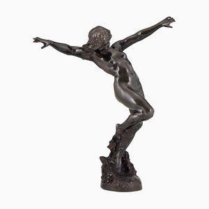 Antike Jugendstil Skulptur aus Bronze von Carl Binder für Foundry Seal