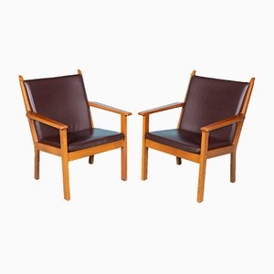 Leather Model GA284 Armchairs by Hans J. Wegner for Getama, 2000s, Set of 2