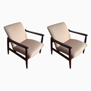 Linen Armchairs by Edmund Homa, 1960s, Set of 2