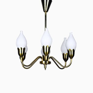 Brass Tulip Chandelier from Fog & Mørup, 1950s