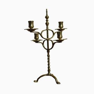 Antiker viktorianischer Kerzenhalter aus Messing