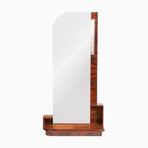 Espejo Art Déco de caoba con lámpara, años 30