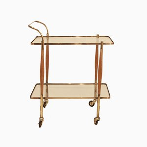 Vintage Clear Glass and Gold Brass Bar Cart