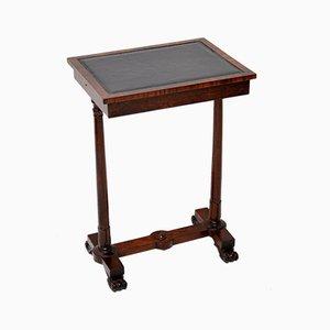 Table d'Appoint William IV Antique en Palissandre et Cuir