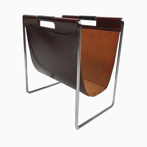 Vintage Leather & Chrome Magazine Rack from Brabantia, 1970s