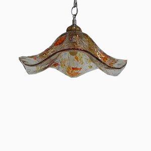 Lámpara de techo vintage de vidrio, años 70
