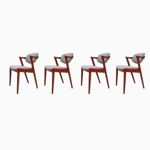 Modell 42 Esszimmerstühle von Kai Kristiansen für Schou Andersen, 1960er, 4er Set