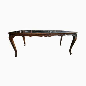 Italian Walnut & Opal Dining Table, 1940s