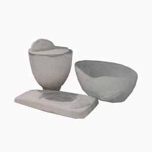 Aschenbecher, Vase & Schale Set aus weißem Muranoglas von Eliakim für Seguso Vetri d'Arte, 1980er