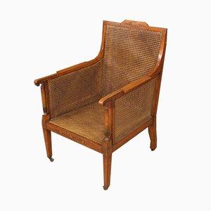 Armlehnstuhl aus Holz mit Sitzgeflecht, 1950er