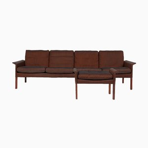 Rosewood and Silk Sofa & Footstool by Hans Olsen for CS Mobelfabrik, 1960s, Set of 2