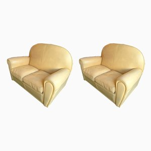 Italian Leather Sofas from Poltrona Frau, 1980s, Set of 2