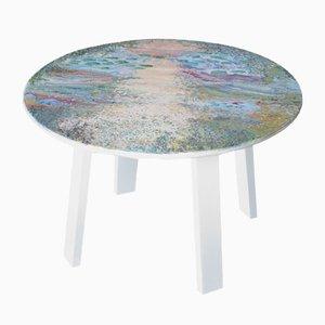 Table Basse en Marbre Blanc, Bois Laqué et Décoration Scagliola de Cupioli Luxury Living
