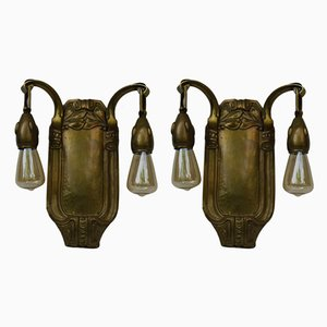 Antique Art Nouveau Brass Wall Lights, Set of 2