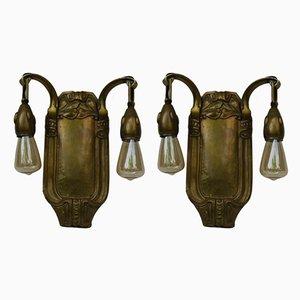 Antique Art Nouveau Brass Wall Lights, Set of 2