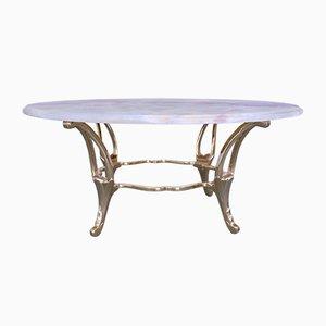 Table Basse Vintage en Laiton et Onyx