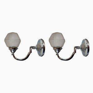 Lámparas de pared Art Déco de cromo y vidrio, años 30. Juego de 2