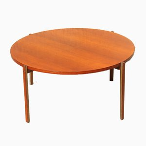 Mid-Century Brass and Teak Round Coffee Table by Ico Parisi, 1950s