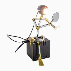 Industrial Brass and Chrome-Plating Table Lamp by Ygnacio Baranga, 1980s