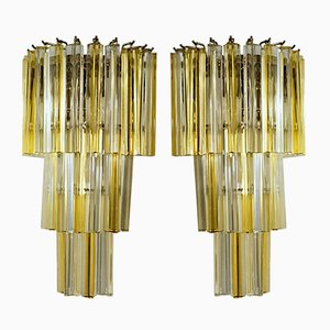 Amber and Clear Murano Glass Triedri Sconces, 1980s, Set of 2
