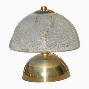 Lámpara de mesa italiana de vidrio y latón, años 70