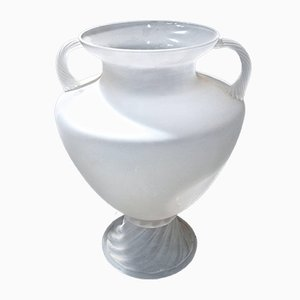 Large White Murano Glass Urn by Vittorio Rigattieri for Seguso Vetri d'Arte, 1980s