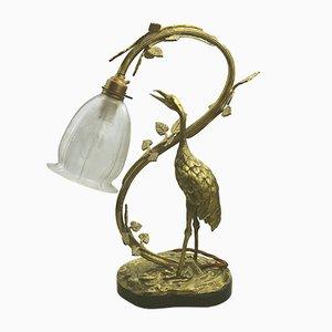 Antike edwardianische Tischlampe aus vergoldetem Messing