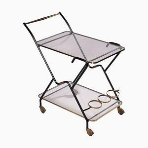 Servierwagen aus Metall, Messing & Glas, 1960er