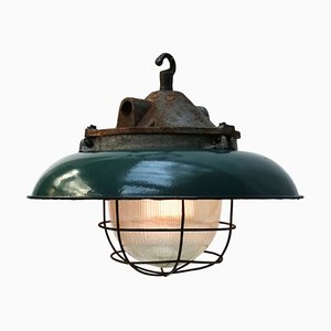 Industrial Enamel, Cast Iron, & Holophane Glass Ceiling Lamp, 1950s