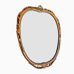 Espejo italiano de madera dorada, años 50