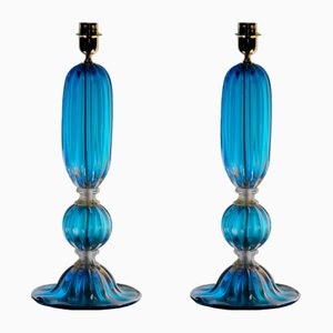 Aquamarine and Gold Table Lamps by Alberto Donà, 2000s, Set of 2