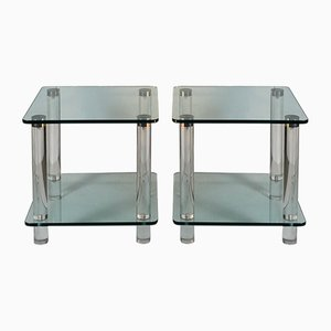 Plexiglass & Chrome Console Tables, 1970s, Set of 2