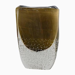 Black and Gold Murano Glass Vase by Romano Dona for Stefano Toso, 1990s