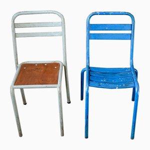 Esszimmerstühle aus Metall, 1950er, 2er Set