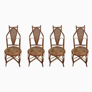 Armlehnstühle aus Bambus, 1950er, 4er Set