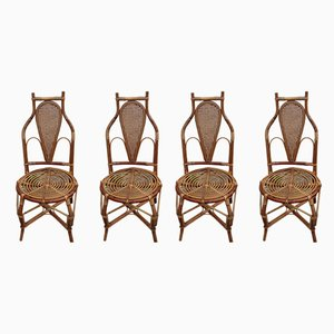 Bamboo Armchairs, 1950s, Set of 4