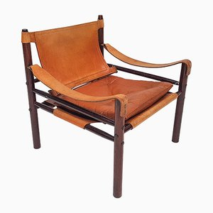 Leather and Stained Ash Sirocco Armchair by Arne Norell for Arne Norell AB, 1960s
