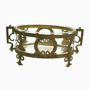 Antike neoklassizistische französische Schale aus vergoldetem Metall & Glas