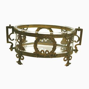 Antique Neoclassical French Gilt Metal and Glass Bowl