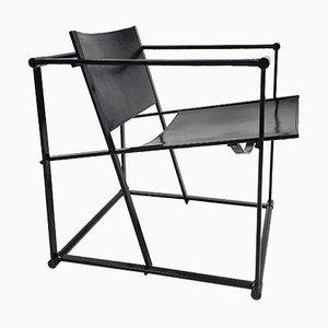 Steel and Leather Model FM62 Armchair by Radboud Van Beekum for Pastoe, 1980s