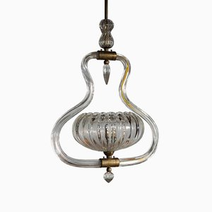 Art Deco Murano Glass and Brass Ceiling Lamp from Ercole Barovier, 1930s