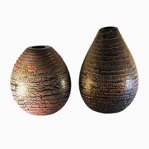 Black Murano Glass Iridescent Vases by Sergio Rossi, 1980s, Set of 2
