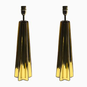 Amber Murano Glass Table Lamps by Alberto Donà, 1980s, Set of 2